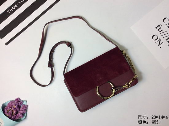 Chloe Bag Faye Purplish Red