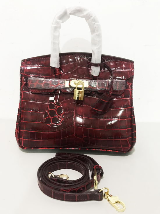 Hermes Bag Birkin Alligator BK2225 Wine Red