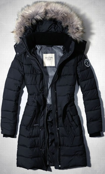 Abercrombie & Fitch Down Fur Hood Long Jacket Navy Wmns (M)