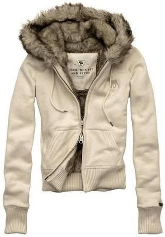 Abercrombie & Fitch Fur Hood Classic White Wmns