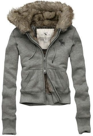 Abercrombie & Fitch Fur Hood Classic Grey Wmns