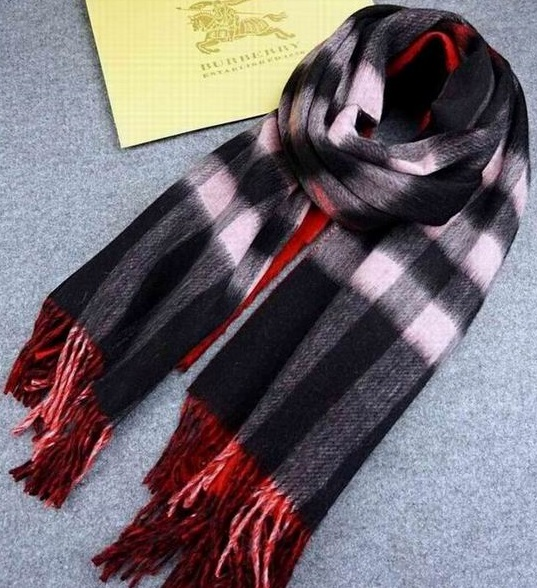 Burberry Checked Long Scarve Red