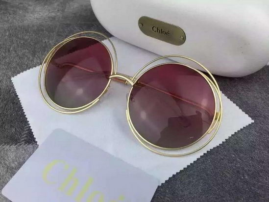 Chloe Carlina Round Wire-Frame Sunglasses Pink