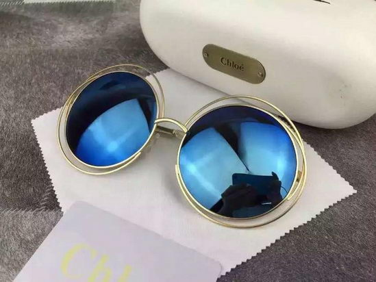 Chloe Carlina Round Wire-Frame Sunglasses Blue
