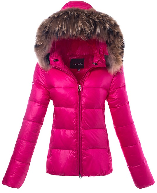 Duvetica Fur Hooded Down Jacket Pink Wmns