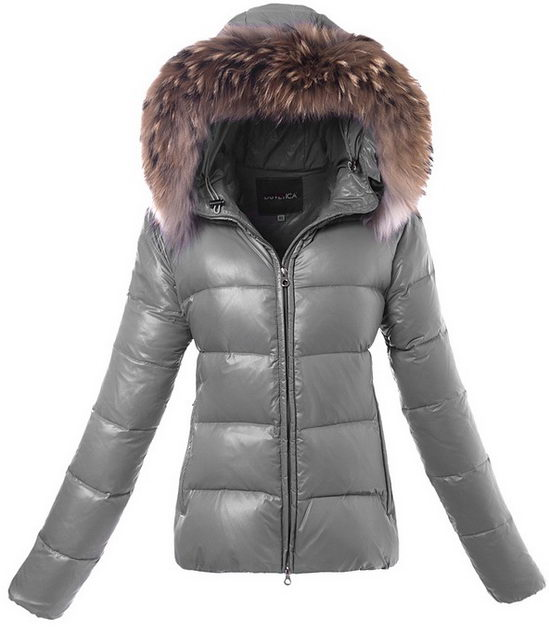 Duvetica Fur Hooded Down Jacket Grey Wmns