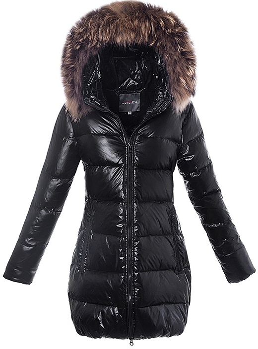Duvetica Fur Long Hooded Down Jacket Black Wmns