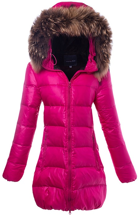 Duvetica Fur Long Hooded Down Jacket Pink Wmns