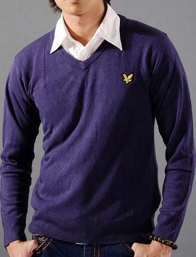 Lyle & Scott V-Neck Purple Mens