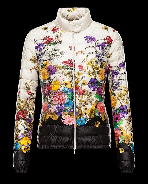 Moncler Black Quilted Down Floral Alisia Jacket Wmns
