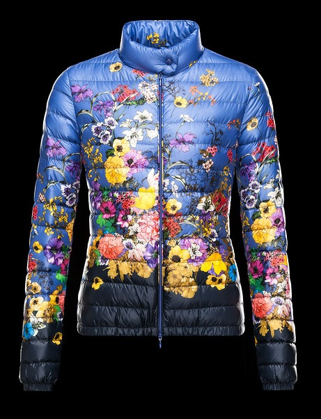 Moncler Blue Quilted Down Floral Alisia Jacket Wmns