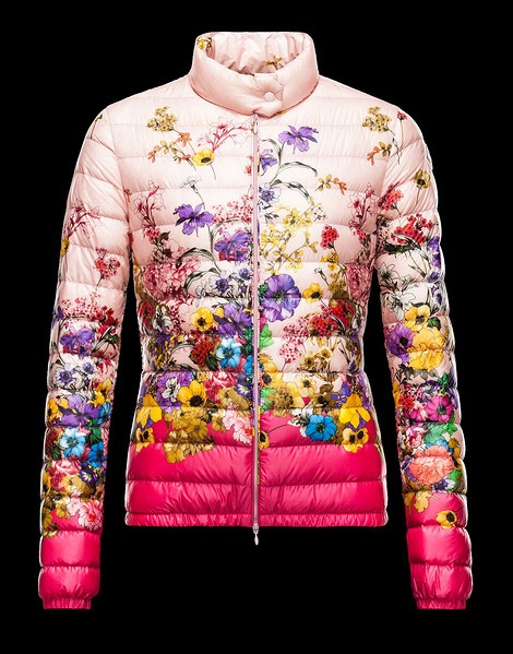 Moncler Pink Quilted Down Floral Alisia Jacket Wmns