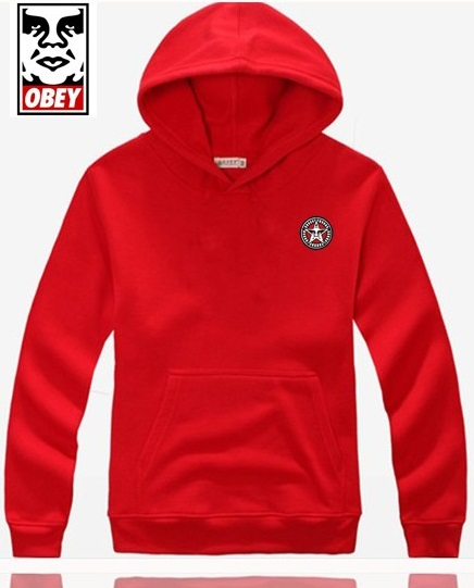 Obey Hoodie Small Logo Red Mens