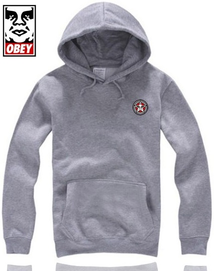 Obey Hoodie Small Logo Grey Mens