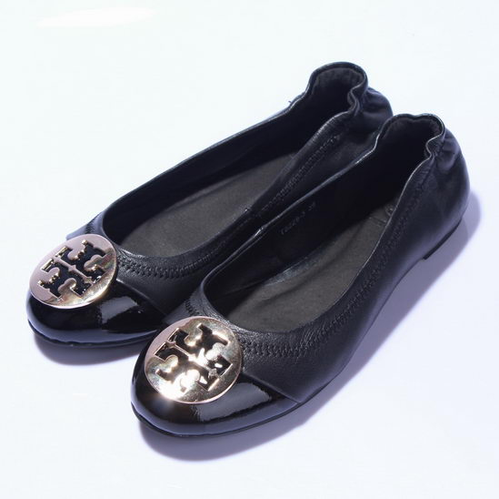 Tory Burch Flat Shoes Black Patent Front Wmns
