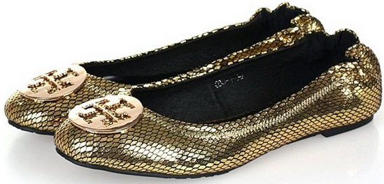 Tory Burch Flat Shoes Gold Snake Wmns