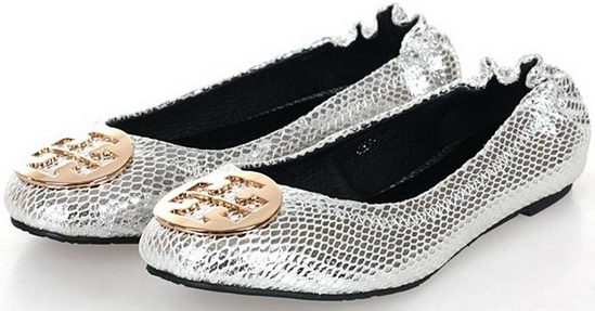 Tory Burch Flat Shoes Silver Snake Wmns