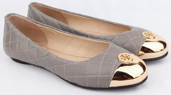 Tory Burch Quilted Flat Shoes Grey Wmns
