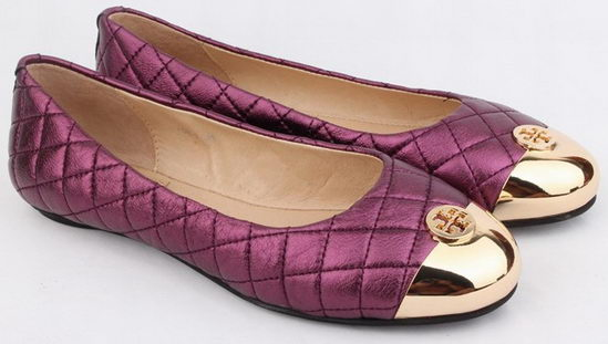 Tory Burch Quilted Flat Shoes Purple Wmns