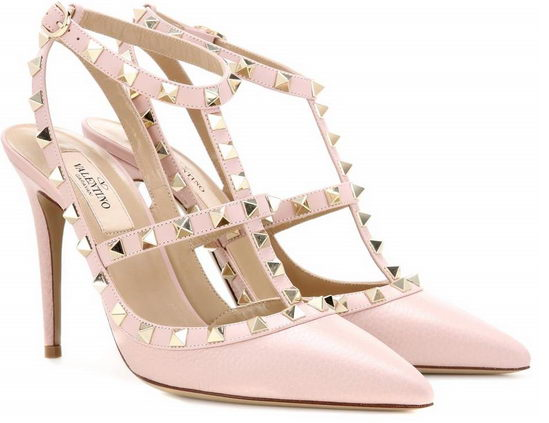 Valentino Rockstud Leather Pumps Pink/ Gold