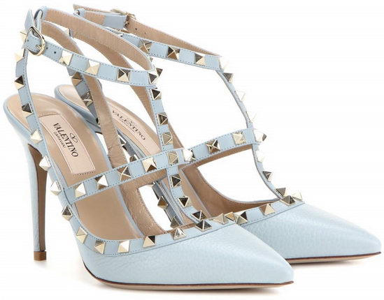 Valentino Rockstud Leather Pumps Heaven/ Gold