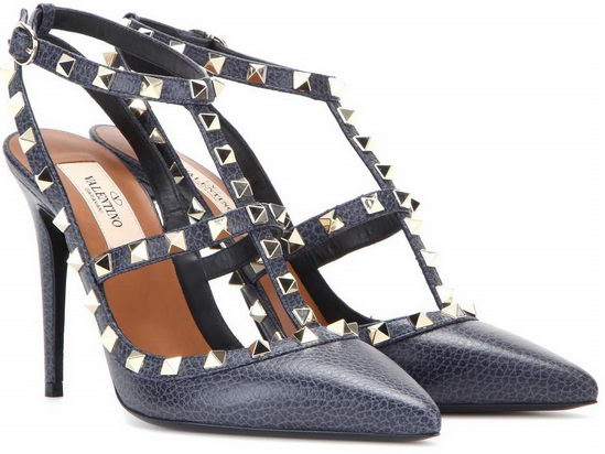 Valentino Rockstud Leather Pumps Navy/ Gold
