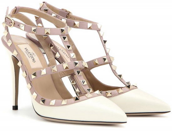 Valentino Rockstud Leather Pumps White/ Gold
