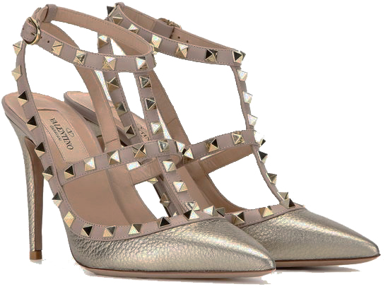 Valentino Rockstud Leather Pumps Gold/ Gold
