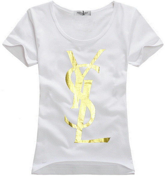 Yves Saint Laurent T Shirt White Gold Wmns Product2157