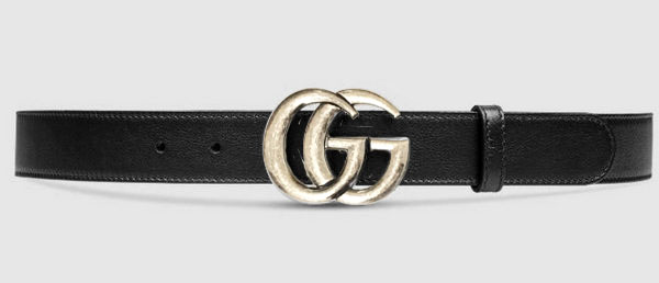 Gucci Belt Silver Black Mens 4CM
