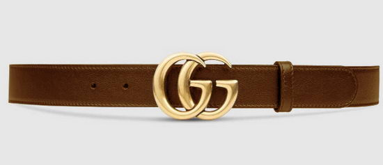 Gucci Belt Gold Brown Mens 4CM